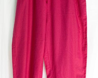 VINTAGE 1980's hot pink high waisted Laura Ashley tapered trousers / pants (size U.K. 12) feminine cute sexy!