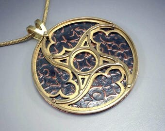 Cathedral Window Medieval Gothic Tracery Pendant in Brass and Copper