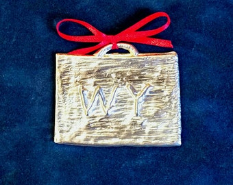 Pewter Wyoming Ornament (WY)