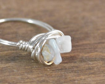 Opal Chip Sterling Silver Wrap Ring - Stackable