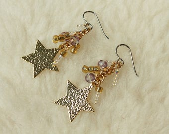 Golden Stars - Surgical Steel Earrings / Niobium Earrings / Titanium Earrings - Hypoallergenic Nickel Free Earrings for Sensitive Ears