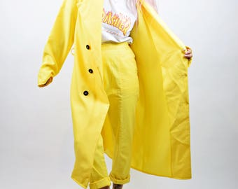 VTG 60s Bright Yellow Trench Coat Oversized Mod Neon Primary Colors Dapper Androgynous Unisex Xlarge Tailed Collar Double Breasted