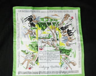 Vintage Waltzing Matilda Handkerchief, Designed in Australia
