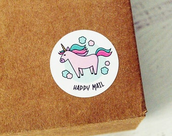Happy Mail, Unicorn Mail Envelope Seals, Unicorn Stickers, Happy Mail Stickers, Magic Mail Stickers, Rainbow Stickers, Etsy Packaging
