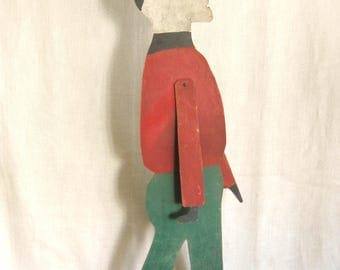 Antique Primitive Folk Art Sculpture, Male Portrait, Wooden Cutout, Rustic Decor, Articulated, Handmade, Cabin, Winter Sports, Holiday Decor