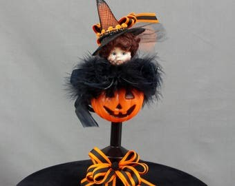 Halloween Decoration, Vintage Doll Decor, Jack O Lantern Decor, Vintage Halloween, Halloween Centerpiece