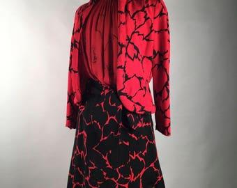 Vintage 80s Womens Suit, Pauline Trigere,  3 PC, Skirt, Jacket, Blouse, Leaf Pattern, Red, Black, Silk, Black Rhinestone, Padded Trim Detail