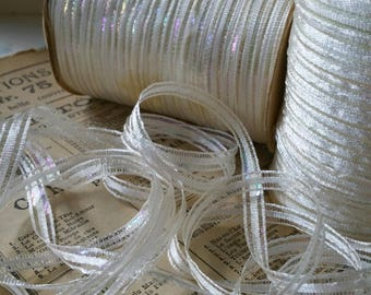 Dazzling Iridescent 1930's White Ribbon 8mm - Vintage New Old Stock - 10 Yard Hand Rolled