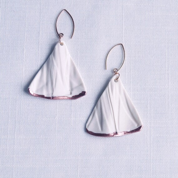 RUCHED No8 white porcelain earrings, rose gold wires, rose gold vermeil wires, ceramic earrings