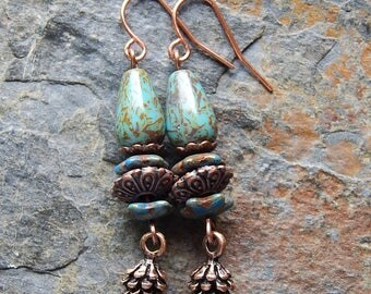 Rustic pine cone earrings - nature inspired dangle earrings - blue picasso czech glass - woodland jewelry - nature lover gift - boho style