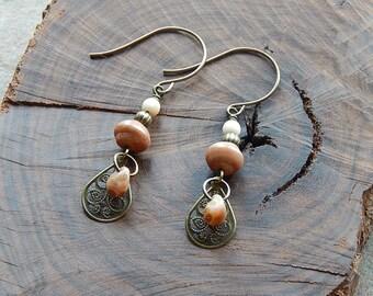 Cream and brown czech glass earrings - little dangle earrings - picasso glass teardrops - neutral tone -  boho style - rustic brown jewelry