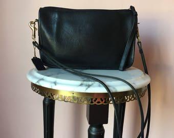 1960's Coach Purse / Black Leather / Bonnie Cashin Era /  Rare Coach Bag / Double Strap Shoulder Bag
