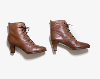 Vintage Ankle Boots 6 / Brown Leather Ankle Boots / Lace Up Booties / High Heel Boots / Ankle Boots Women