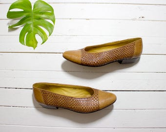 Vintage Leather Heels 8.5 / Brown Leather Pumps / Block Heel Pumps / Woven Leather Heels / Italian Leather Shoes