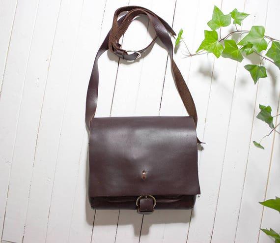 Vintage Leather Satchel / Brown Leather Satchel / Leather Saddle Bag / Brown Leather Bag / Leather Crossbody Bag