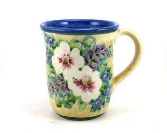 Yellow Porcelain Coffee Mug - Ceramic Floral Tea Cup - Soft Backround Blue Inside and Pink Flowers -  Hand-Thrown Bisque Fired and Glazed
