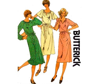 Butterick 6052 Womens EASY Stretch Raglan Sleeved Dress 80s Vintage Sewing Pattern Size 14 Bust 36 inches UNCUT Factory Folded