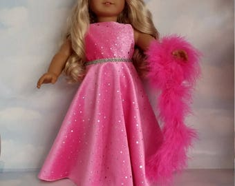 18 inch doll clothes - #244 Bright Pink Velvet Gown handmade to fit the American girl doll - FREE SHIPPING