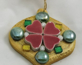 Green Baubles & Red Hearts Ornament
