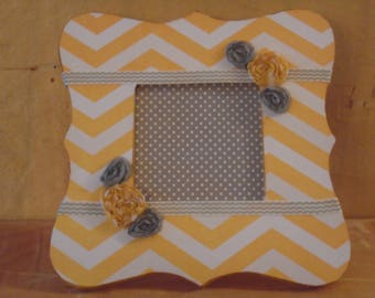 Yellow and Gray Chevron Decoupaged Picture Frame