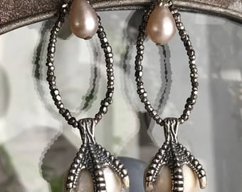 pearl catcher - earrings silver claw vintage steel cut beads baroque hoop dangle drop bird animal nautical, the french circus