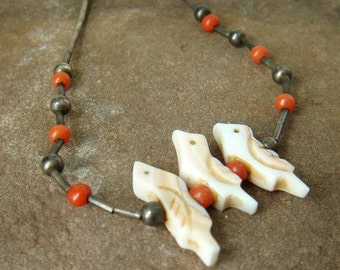 Vintage Native American Necklace - Liquid Silver - Mother of Pearl - Coral  - Zuni Fetish  Bird - Navajo - Southwestern