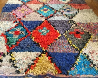 FREE SHIPPING!!! BOHO Chic Rug Vintage Moroccan Boucherouite in Multi Colors (Los Angeles)