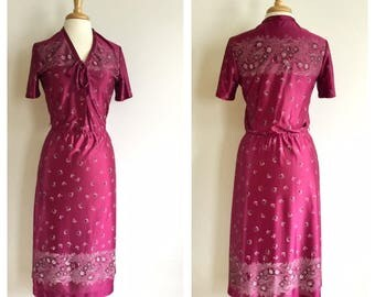 Vintage Maroon Butterfly Slinky Dress // 1980s