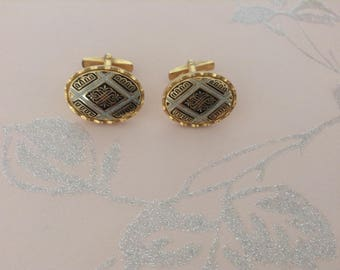 Vintage Damascene Cufflinks, Fathers Day, Gents, 1960s