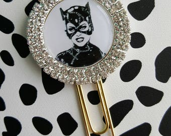Catwoman chic rhinestone planner paper clip