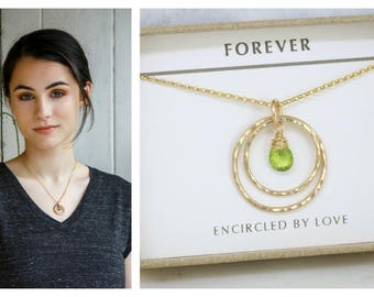 Gold circles necklace with peridot, August birthstone necklace, August birthday gift for daughter - Celeste