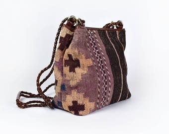 Kilim Tapestry Purse with Leather Detail by Franco Sarto