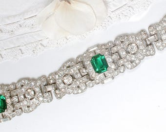 ORIGINAL Art Deco Clear & Emerald Rhinestone Bracelet Silver French Paste Green Pave Crystal Wide Link Panel 1920s Gatsby Bridal Cuff