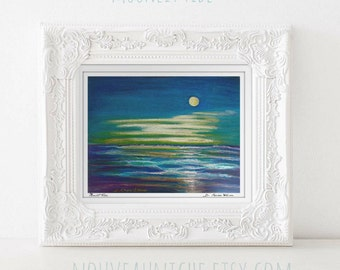 Ocean Painting Print Full Moon Wall Art Beach Gifts for Her Prints Coastal Decor Prints Tybee Island Housewarming Gift