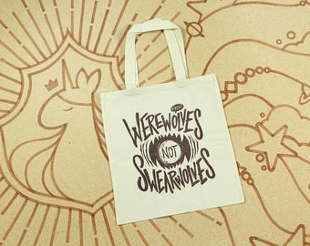 What We Do In The Shadows Tote Bag // Werewolves Not Swearwolves Tote Bag // Hand Screen Printed