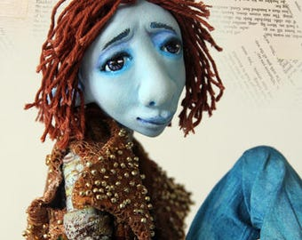 doll making tutorial Making Kaspar the Bohemian Poet with air dry clay learn to sculpt dress and paint
