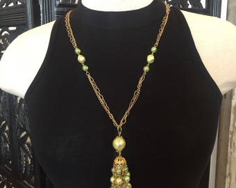 Green Beaded Gold Necklace with Pendant Tassle