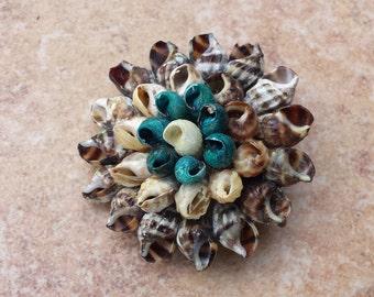 Three Tiers Round Handmade Seashell, Shell Clusters, Geniune Seashells, Real Shells, Nautical, Layered Shell Brooch Pin
