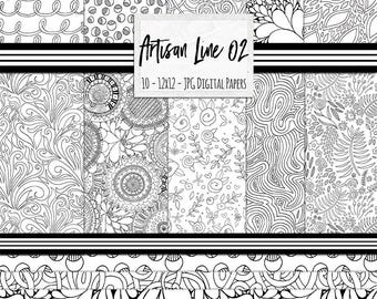 Hand Drawn Patterns, Black and White Digital Paper, Artisan Line Art Backgrounds 02, Tropical Foliage, Coloring Paper, Swirls