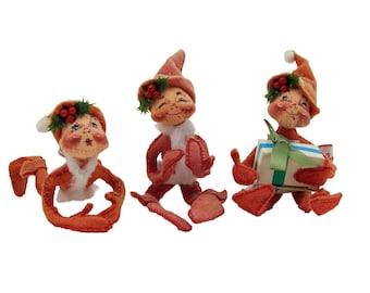 Three Adorable Vintage Annalee Christmas Posable Elves dated 90 91 and 1992 Felt Cloth Art Doll