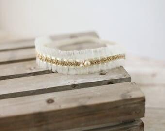 Allure of Ivory- cream ivory goldl pleated tulle simple newborn headband prop