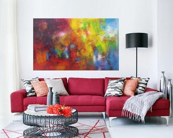 """XL painting, Modern wall art, Extra Large Bold Bright Abstract, oil on stretched canvas original work, vertical or horizontal size 31x51"""""""