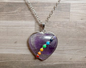 Amethyst Chakra Heart Necklace - Seven Chakra Necklace - Heart Necklace - Gemstone Necklace - No. 1