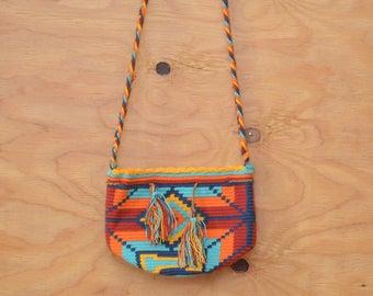 Vintage 70's Rainbow Ethnic BOHO Hippie Festival Embroidered Knit Fabric Purse