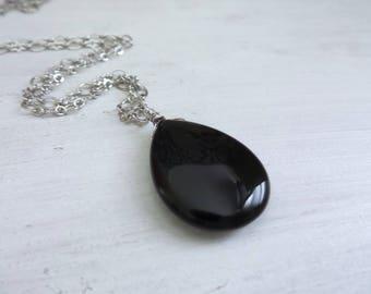 Black Onyx Necklace, Black Onyx Pendant, Onyx Gemstones, Black Pendant, Onyx Jewelry, Silver Onyx, Gift For Her, Gifts Under 25, Gift Women