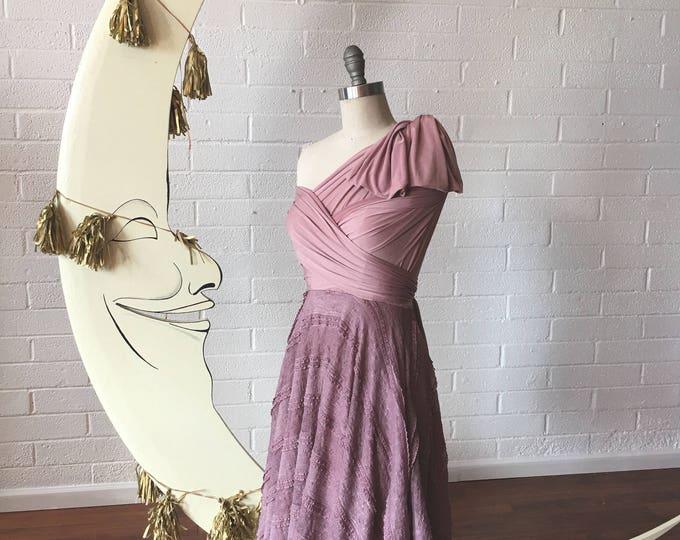 "Ready Made- 24"" Standard Dainty Ruffle Lace Short Full Circle Octopus Convertible Wrap Dress"