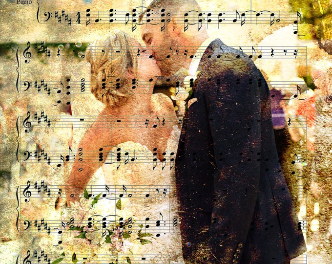 Sheet Music First Dance  Custom Unique Wedding Song Lyrics or Parents Anniversary Gift Paper Gift or Canvas Art 16x20
