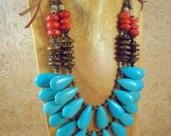 Southwestern Cowgirl Necklace Set - Chunky Turquoise Howlite Teardrops with Coral and Oxbone - Tribal - Gypsy