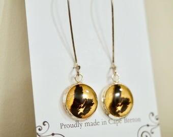 Yellow Cape Breton Island Earrings, Dangle Earrings, CB Earrings, Silhouette resin earrings