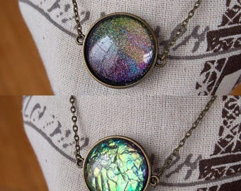Dragon Scale Painted Necklace reversible double sided two sided bronze necklace hand painted nail polish jewelry dragon scale green abstract